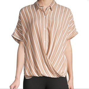 BCBGENERATION Striped Dolman-Sleeve Shirt XS NWT